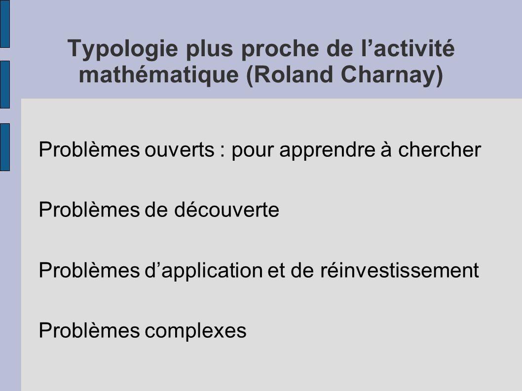 Typologie plus proche de lactivité mathématique (Roland Charnay) Problèmes ouverts : pour apprendre à chercher Problèmes de découverte Problèmes dappl