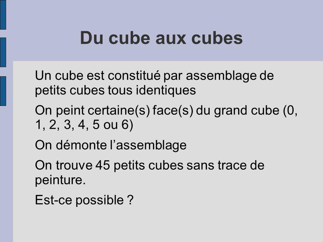Du cube aux cubes Un cube est constitué par assemblage de petits cubes tous identiques On peint certaine(s) face(s) du grand cube (0, 1, 2, 3, 4, 5 ou