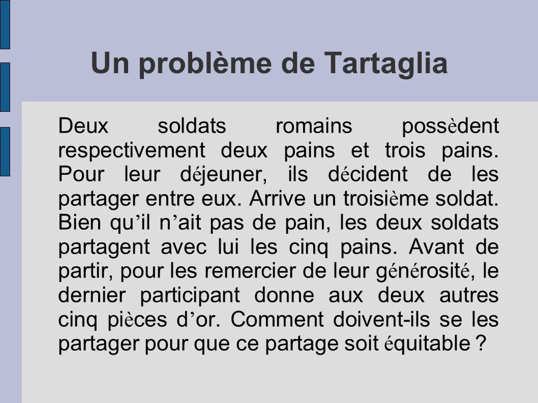 Un problème de Tartaglia Deux soldats romains poss è dent respectivement deux pains et trois pains. Pour leur d é jeuner, ils d é cident de les partag