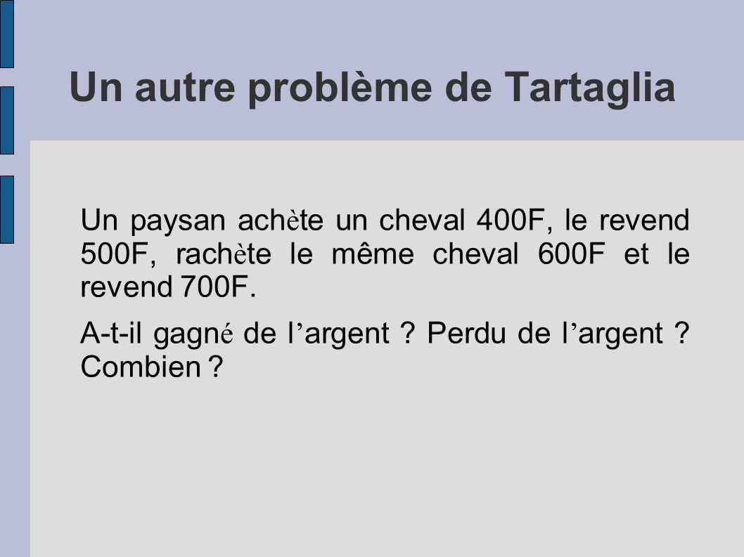 Un autre problème de Tartaglia Un paysan ach è te un cheval 400F, le revend 500F, rach è te le même cheval 600F et le revend 700F. A-t-il gagn é de l