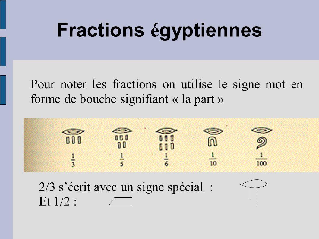 Fractions é gyptiennes Pour noter les fractions on utilise le signe mot en forme de bouche signifiant « la part » 2/3 sécrit avec un signe spécial : E
