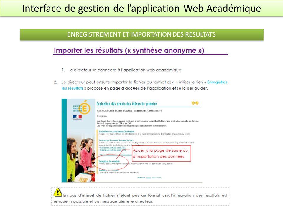 Interface de gestion de lapplication Web Académique ENREGISTREMENT ET IMPORTATION DES RESULTATS Enregistrer en.csv sous Excel Enregistrer en.csv sous OpenOffice