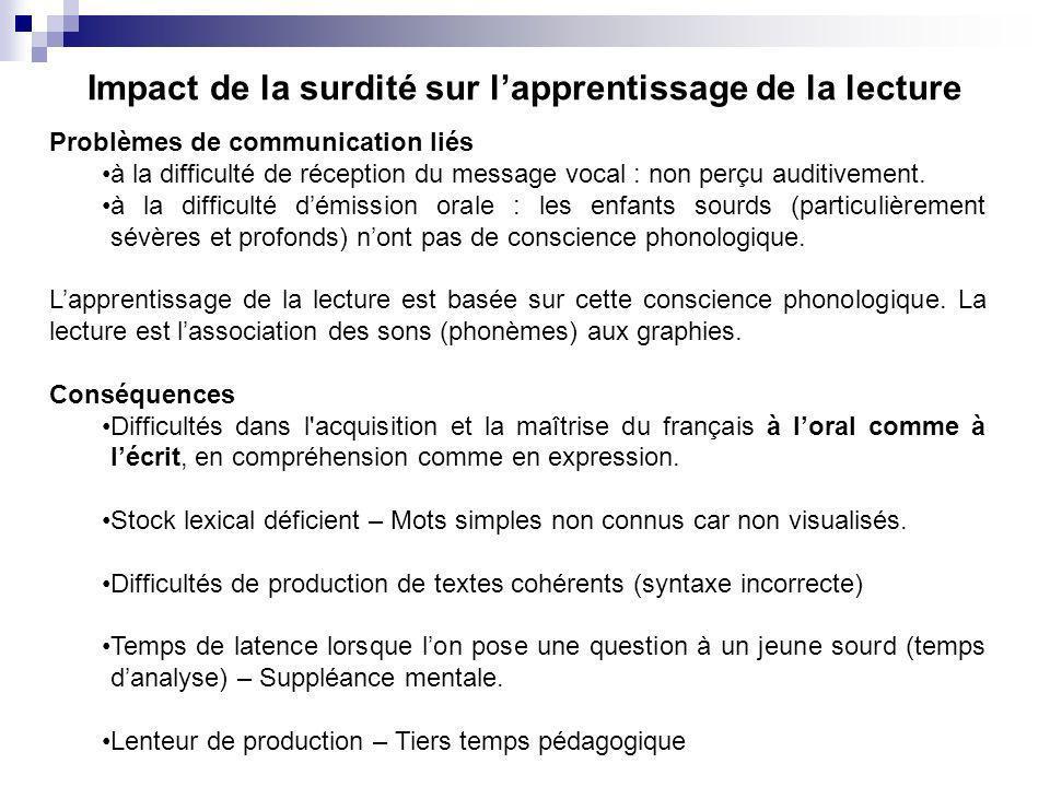 Impact de la surdité sur lapprentissage de la lecture Problèmes de communication liés à la difficulté de réception du message vocal : non perçu auditi