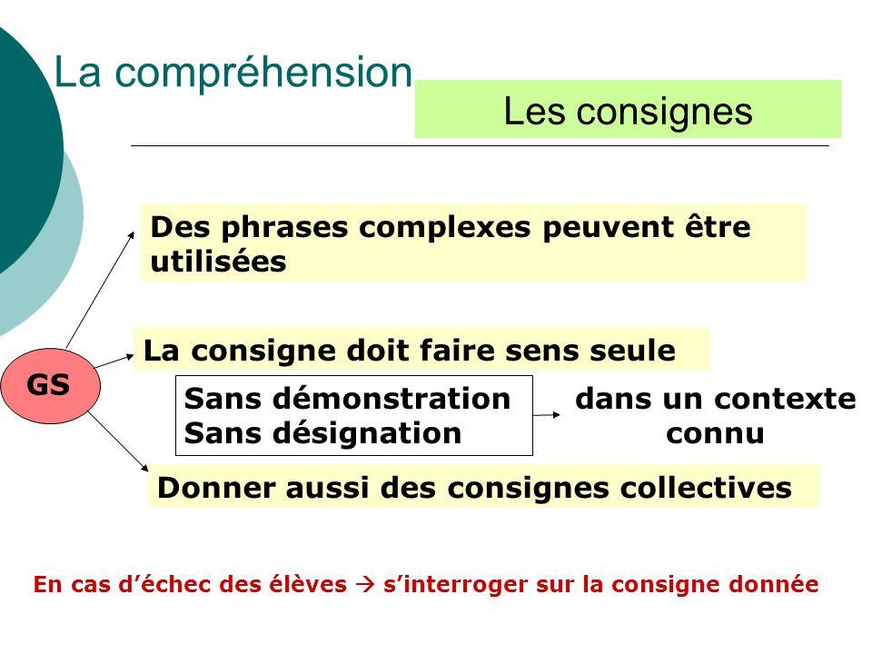 GS Des phrases complexes peuvent être utilisées La consigne doit faire sens seule La compréhension Les consignes Sans démonstration Sans désignation d