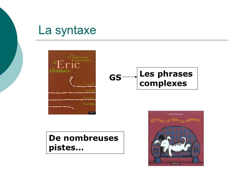 La syntaxe GS Les phrases complexes De nombreuses pistes…