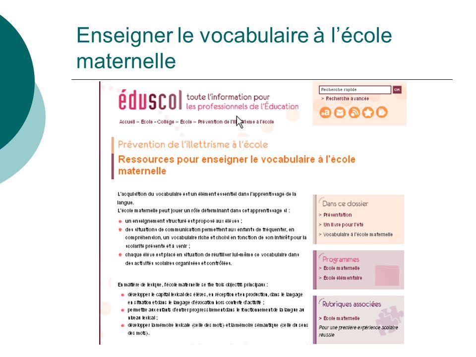 Enseigner le vocabulaire à lécole maternelle