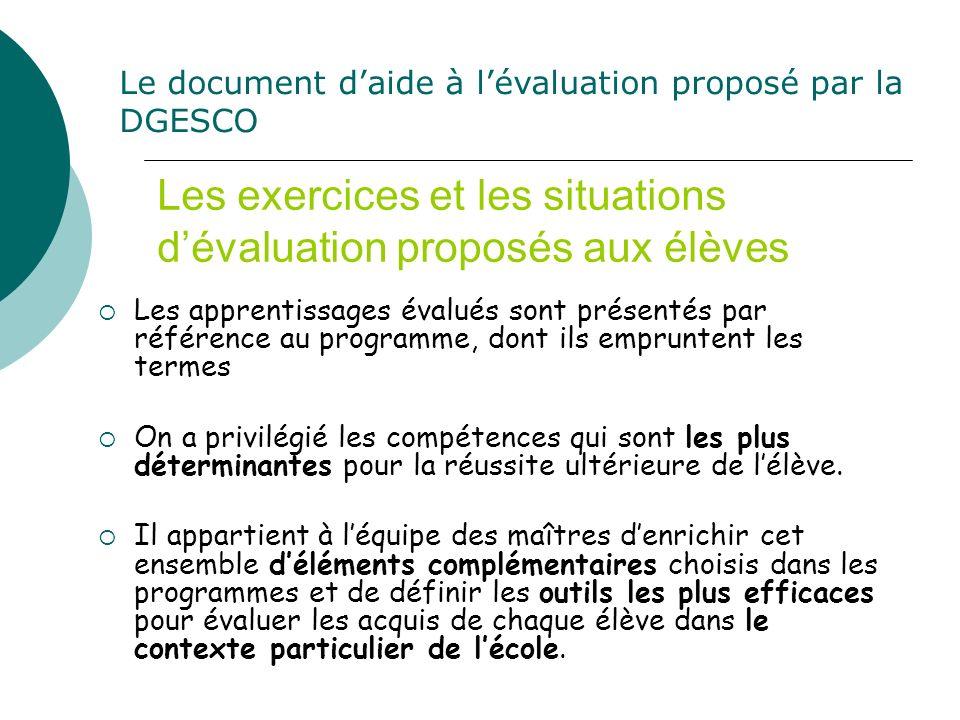 Les exercices et les situations dévaluation proposés aux élèves Les apprentissages évalués sont présentés par référence au programme, dont ils emprunt