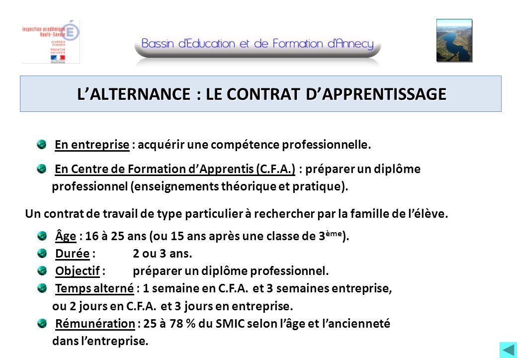 LALTERNANCE : LE CONTRAT DAPPRENTISSAGE En entreprise : acquérir une compétence professionnelle. En Centre de Formation dApprentis (C.F.A.) : préparer