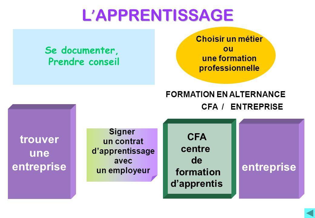 Signer un contrat dapprentissage avec un employeur CFA centre de formation dapprentis trouver une entreprise Choisir un métier ou une formation profes