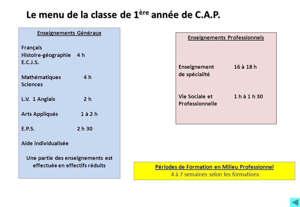 Enseignements Généraux Français Histoire-géographie 4 h E.C.J.S. Mathématiques 4 h Sciences L.V. 1 Anglais 2 h Arts Appliqués 1 à 2 h E.P.S. 2 h 30 Ai