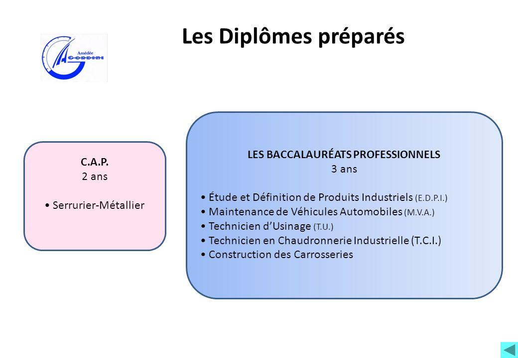 Les Diplômes préparés C.A.P. 2 ans Serrurier-Métallier LES BACCALAURÉATS PROFESSIONNELS 3 ans Étude et Définition de Produits Industriels (E.D.P.I.) M