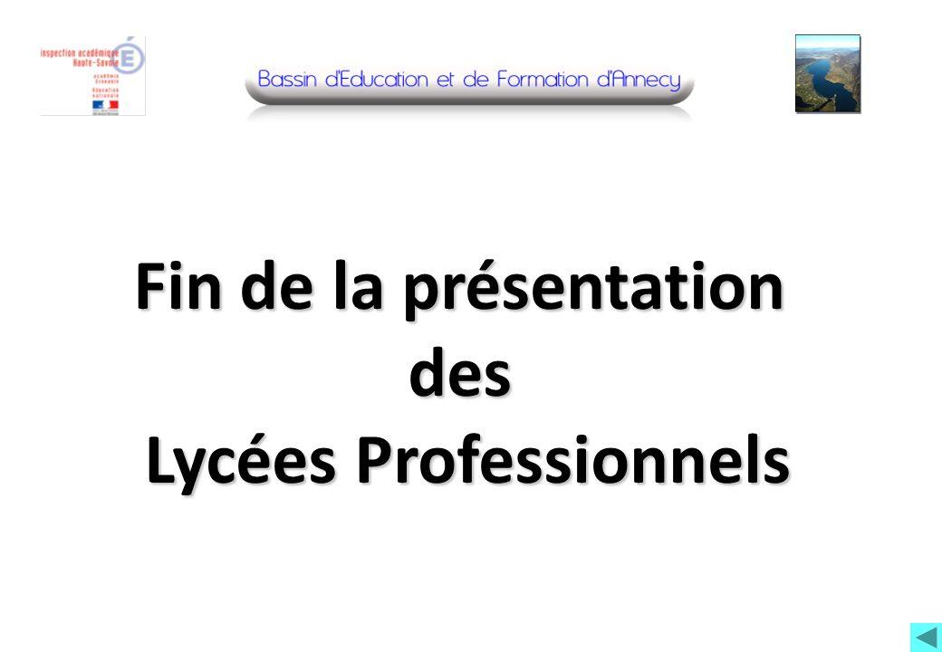 Fin de la présentation des Lycées Professionnels Lycées Professionnels