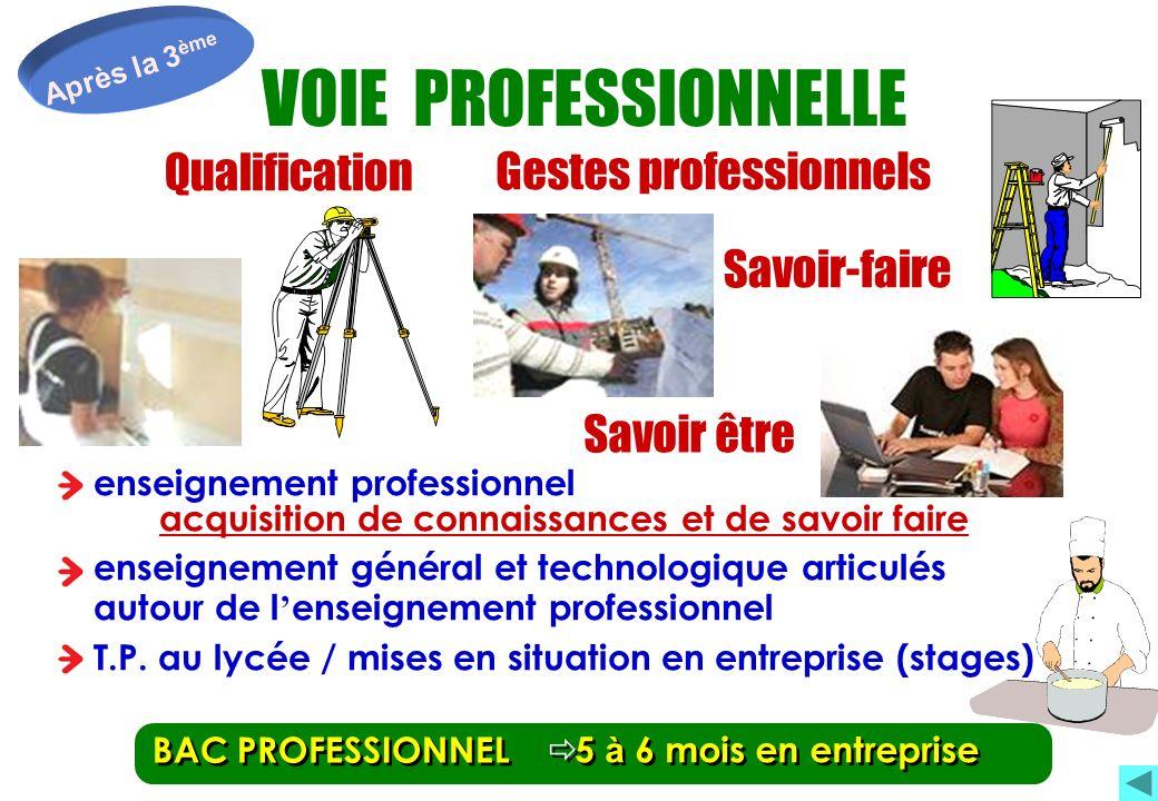 Après la 3 ème Qualification Savoir-faire Qualification Savoir-faire BAC PROFESSIONNEL Gestes professionnels Savoir être 5 à 6 mois en entreprise VOIE