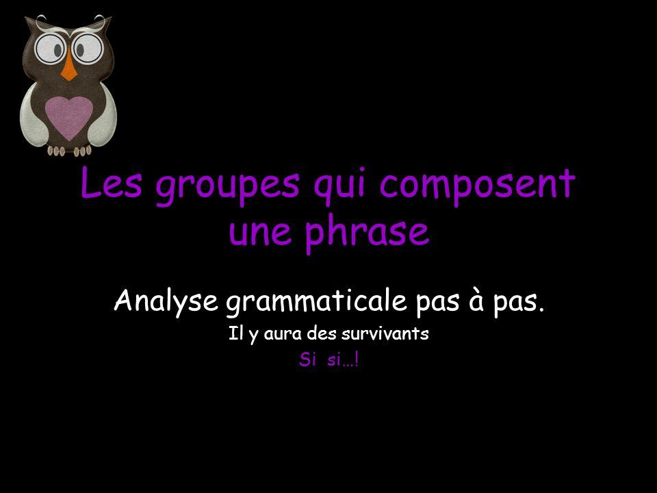 Une phrase se compose de 4 groupes: Le groupe nominal Le groupe verbal Le groupe sujet Le groupe complément