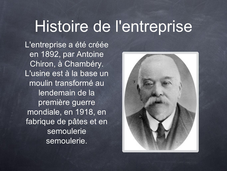 Histoire de l'entreprise L'entreprise a été créée en 1892, par Antoine Chiron, à Chambéry. L'usine est à la base un moulin transformé au lendemain de
