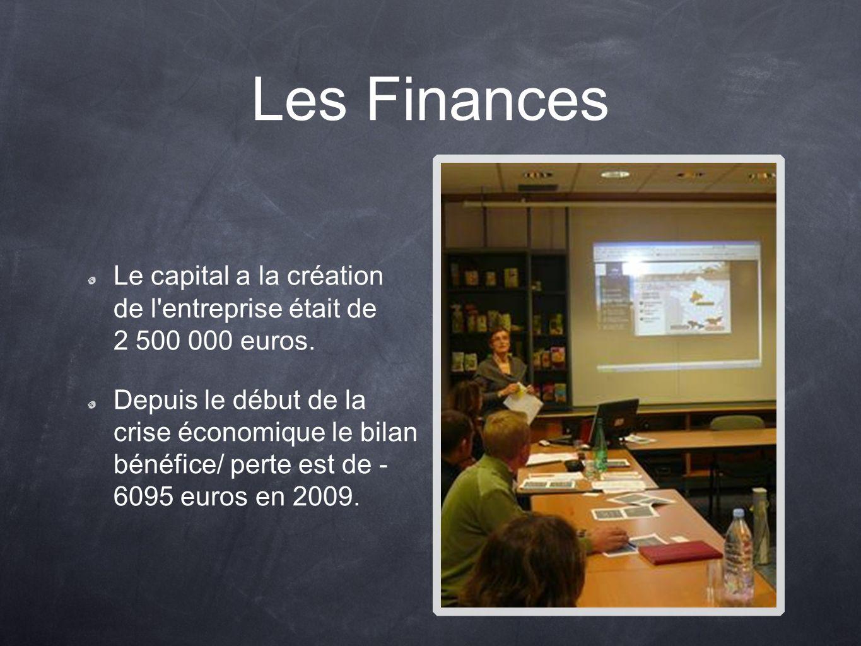 Les Finances Le capital a la création de l'entreprise était de 2 500 000 euros. Depuis le début de la crise économique le bilan bénéfice/ perte est de