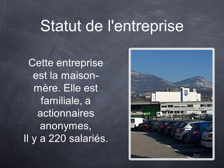 Statut de l'entreprise Cette entreprise est la maison- mère. Elle est familiale, a actionnaires anonymes, Il y a 220 salariés.