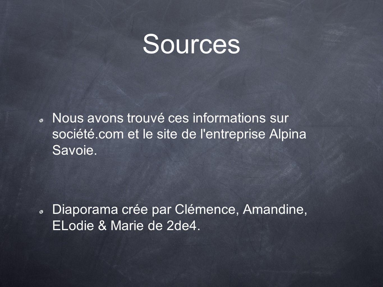 Sources Nous avons trouvé ces informations sur société.com et le site de l'entreprise Alpina Savoie. Diaporama crée par Clémence, Amandine, ELodie & M