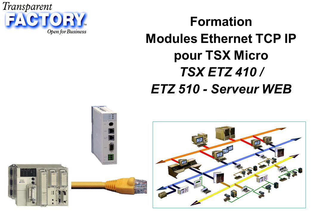 p.22 Mise en œuvre ETZ - Principes 1 - Mise en œuvre Matérielle Connexion du module ETZ sur ETHERNET ou sur MODEM Connexion du module sur le Micro 2 - Configuration Logicielle du module Configuration par page HTML accessibles –par Ethernet (Navigateur Internet) –par Liaison RS 232 (Remote access service + Navigateur Internet) 3 - Mise en oeuvre des fonctions de communication Fonction de communication point à point automate à automate –dans lapplication PL7 Programmation à distance, Supervision à distance –Connexion du logiciel de Programmation PL7 ou SCADA via Driver XIP