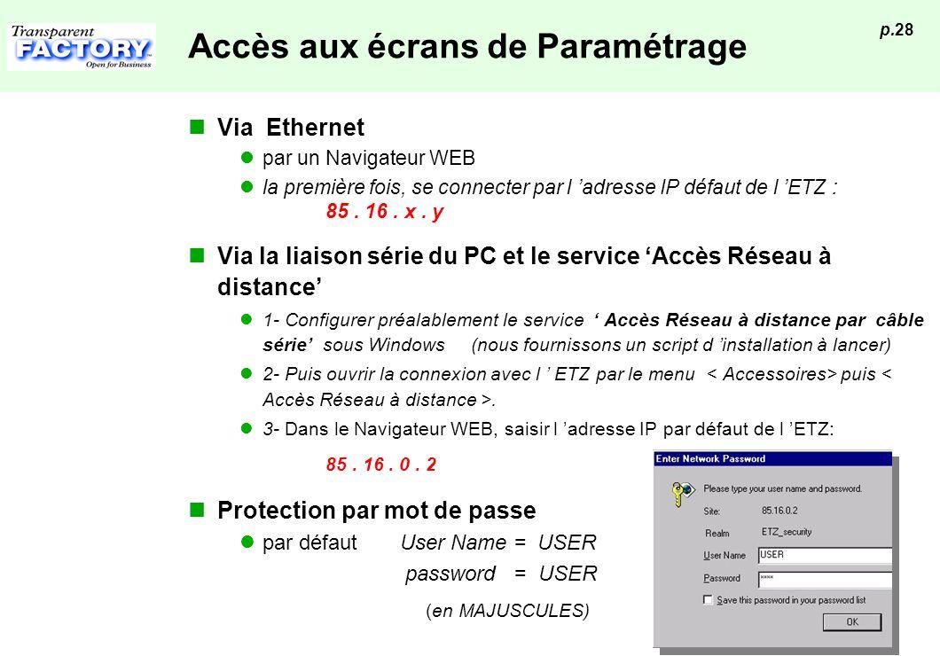 p.28 Accès aux écrans de Paramétrage Via Ethernet par un Navigateur WEB la première fois, se connecter par l adresse IP défaut de l ETZ : 85. 16. x. y