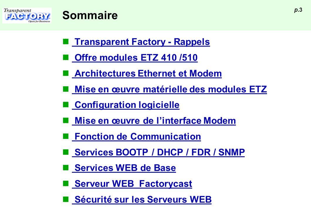 p.3 Sommaire Transparent Factory - Rappels Offre modules ETZ 410 /510 Architectures Ethernet et Modem Mise en œuvre matérielle des modules ETZ Configu