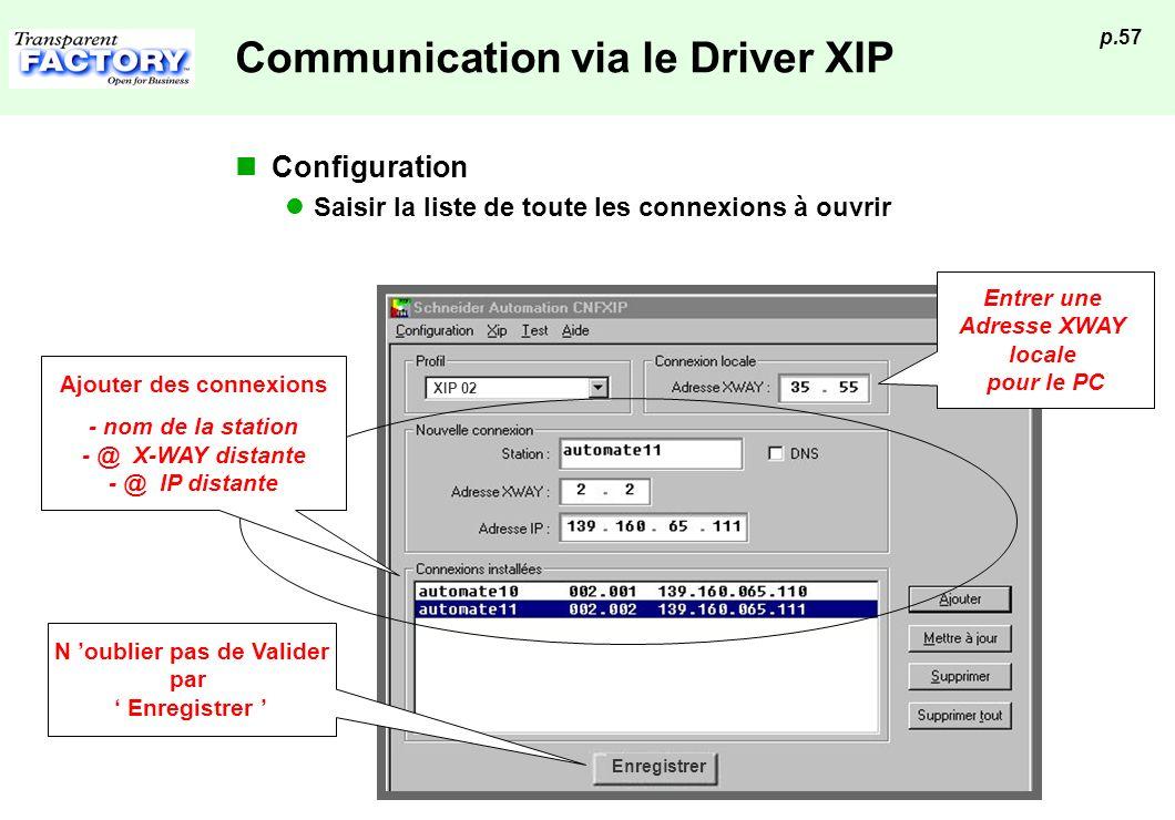 p.57 Enregistrer XIP 02 Communication via le Driver XIP Configuration Saisir la liste de toute les connexions à ouvrir Entrer une Adresse XWAY locale