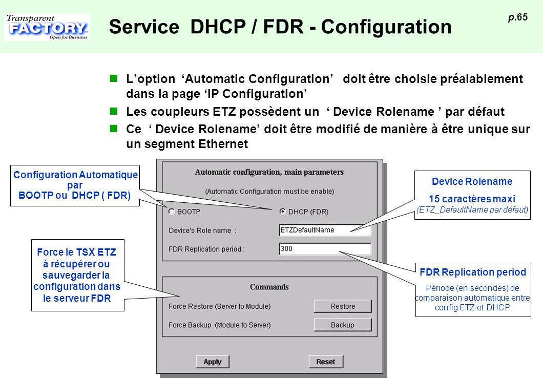 p.65 Service DHCP / FDR - Configuration Loption Automatic Configuration doit être choisie préalablement dans la page IP Configuration Les coupleurs ET