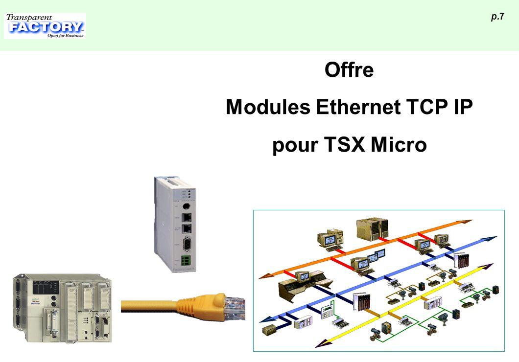 p.28 Accès aux écrans de Paramétrage Via Ethernet par un Navigateur WEB la première fois, se connecter par l adresse IP défaut de l ETZ : 85.
