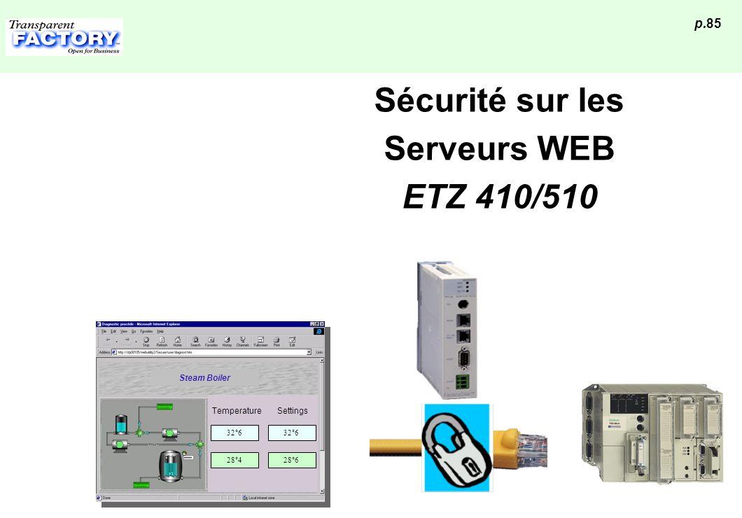 p.85 Sécurité sur les Serveurs WEB ETZ 410/510 32°6 Temperature 32°6 Settings 28°428°6 Steam Boiler