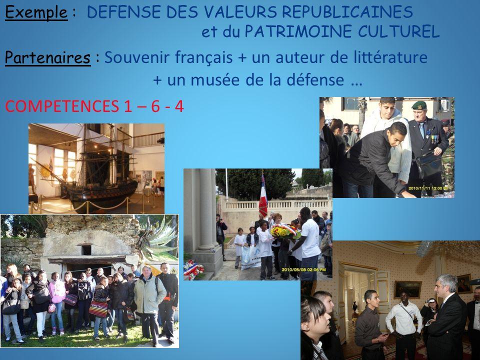 Exemple : DEFENSE DES VALEURS REPUBLICAINES et du PATRIMOINE CULTUREL Partenaires : Souvenir français + un auteur de littérature + un musée de la défe