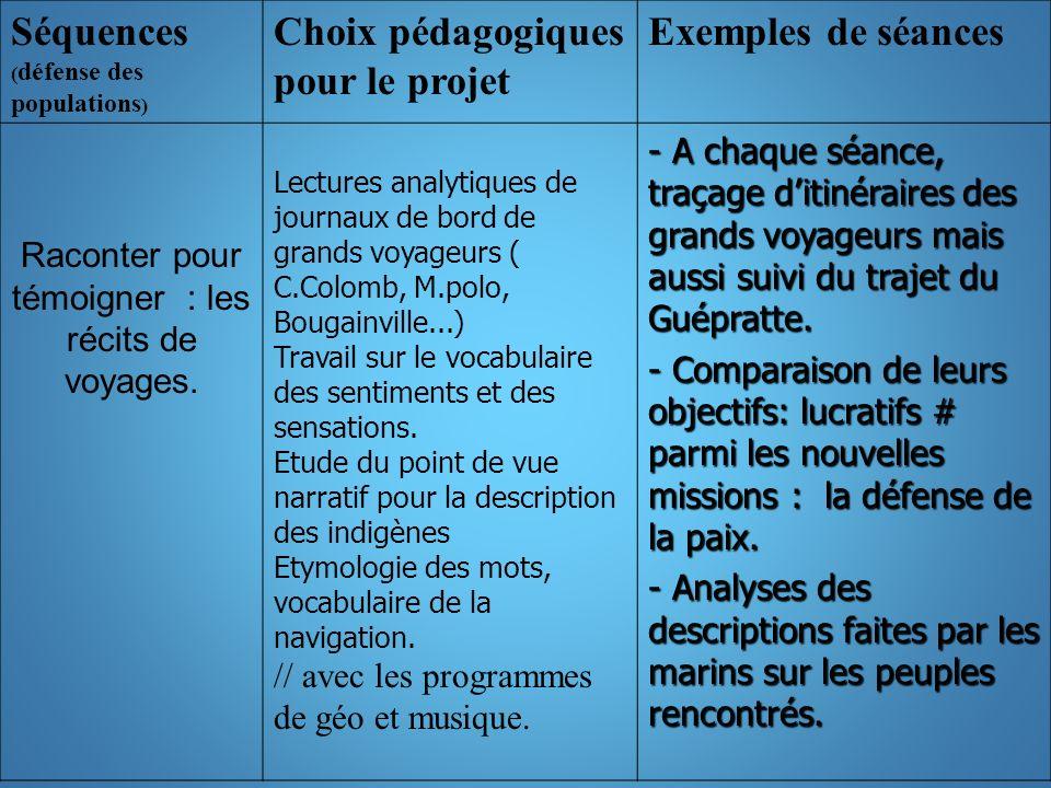 Séquences ( défense des populations ) Choix pédagogiques pour le projet Exemples de séances Raconter pour témoigner : les récits de voyages.