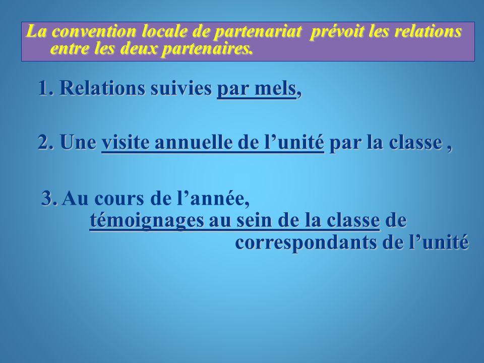 La convention locale de partenariat prévoit les relations entre les deux partenaires. 1. Relations suivies par mels, 2. Une visite annuelle de lunité