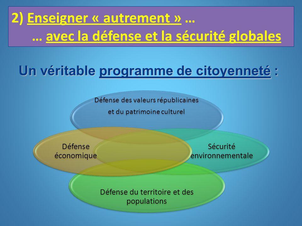 2) Enseigner « autrement » … … avec la défense et la sécurité globales Défense des valeurs républicaines et du patrimoine culturel Sécurité environnem