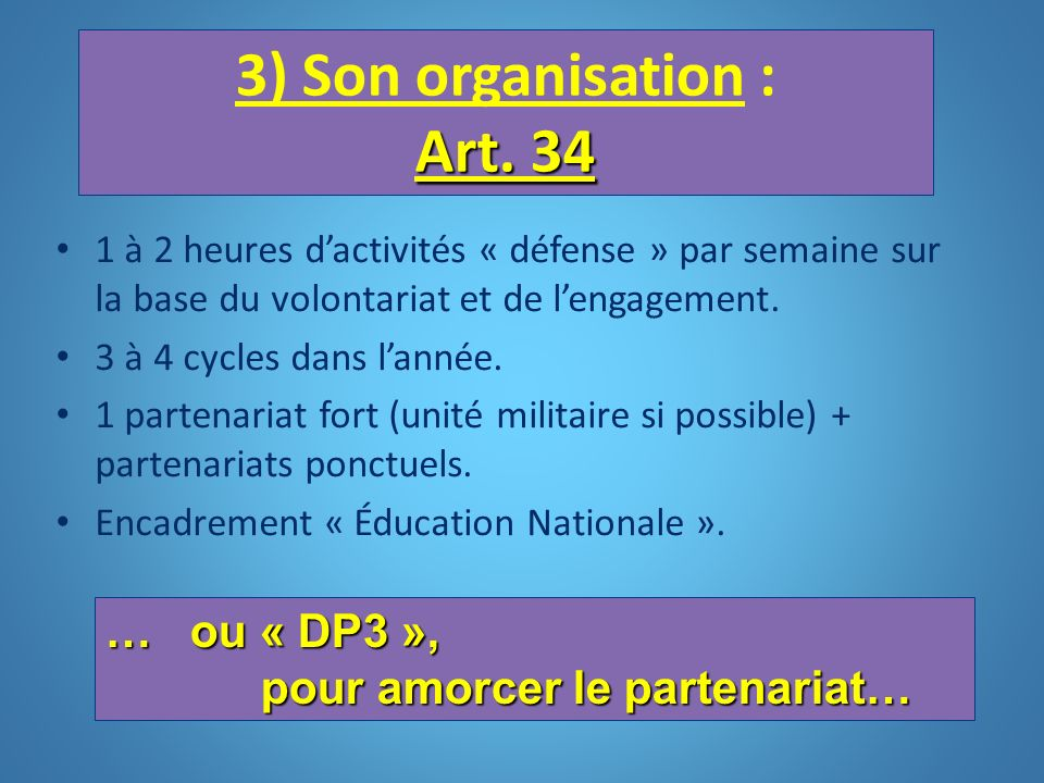 Art. 34 3) Son organisation : Art. 34 1 à 2 heures dactivités « défense » par semaine sur la base du volontariat et de lengagement. 3 à 4 cycles dans