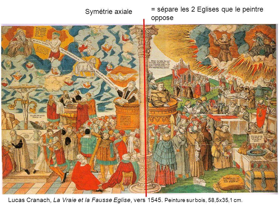 = sépare les 2 Eglises que le peintre oppose Symétrie axiale