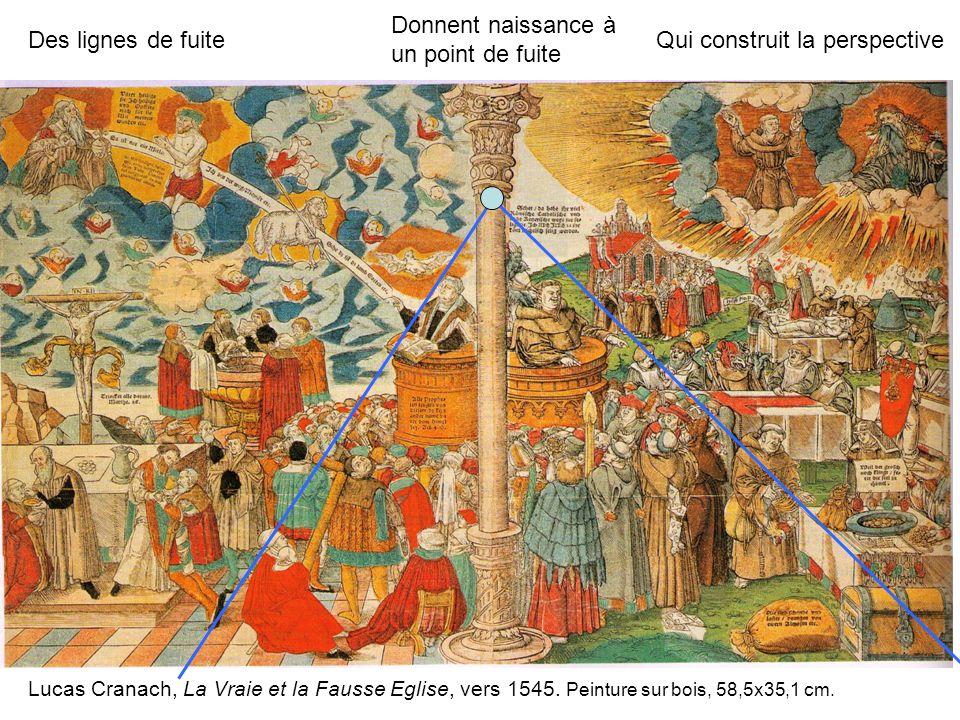 Lucas Cranach, La Vraie et la Fausse Eglise, vers 1545. Peinture sur bois, 58,5x35,1 cm. Des lignes de fuite Donnent naissance à un point de fuite Qui