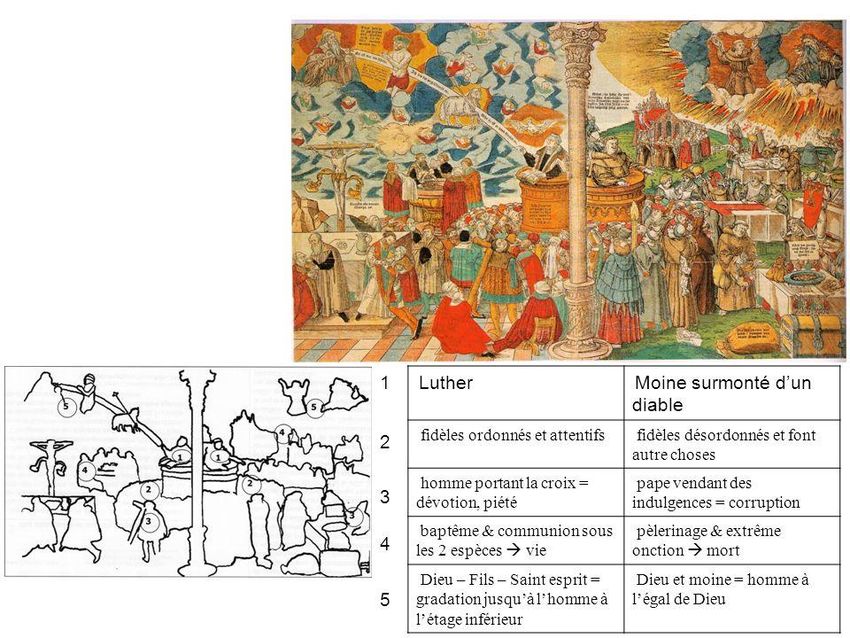 Luther Moine surmonté dun diable fidèles ordonnés et attentifs fidèles désordonnés et font autre choses homme portant la croix = dévotion, piété pape