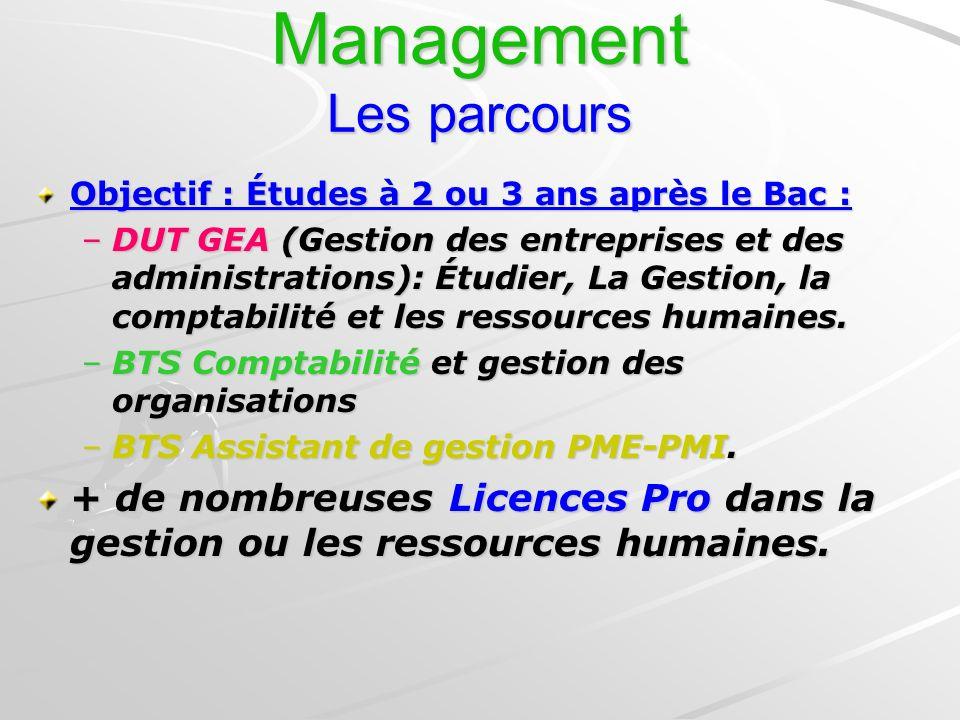 Management Les parcours Objectif : Études à 2 ou 3 ans après le Bac : –DUT GEA (Gestion des entreprises et des administrations): Étudier, La Gestion,
