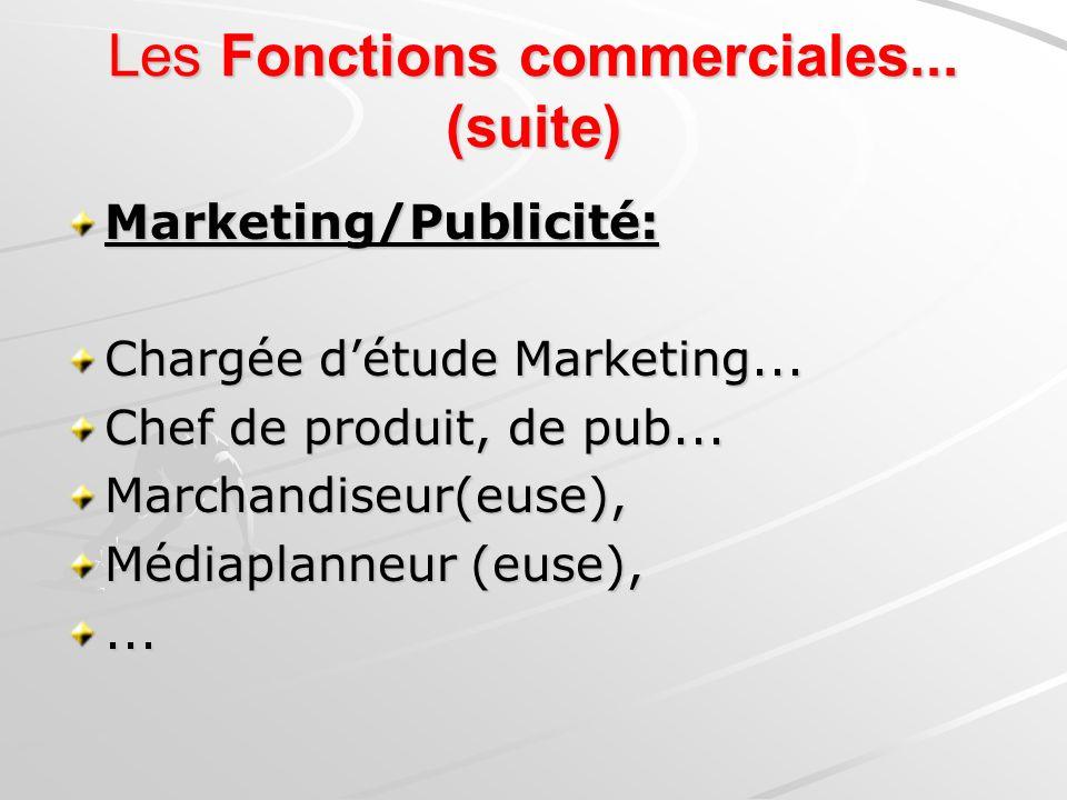 Marketing/Publicité: Chargée détude Marketing... Chef de produit, de pub... Marchandiseur(euse), Médiaplanneur (euse),... Les Fonctions commerciales..