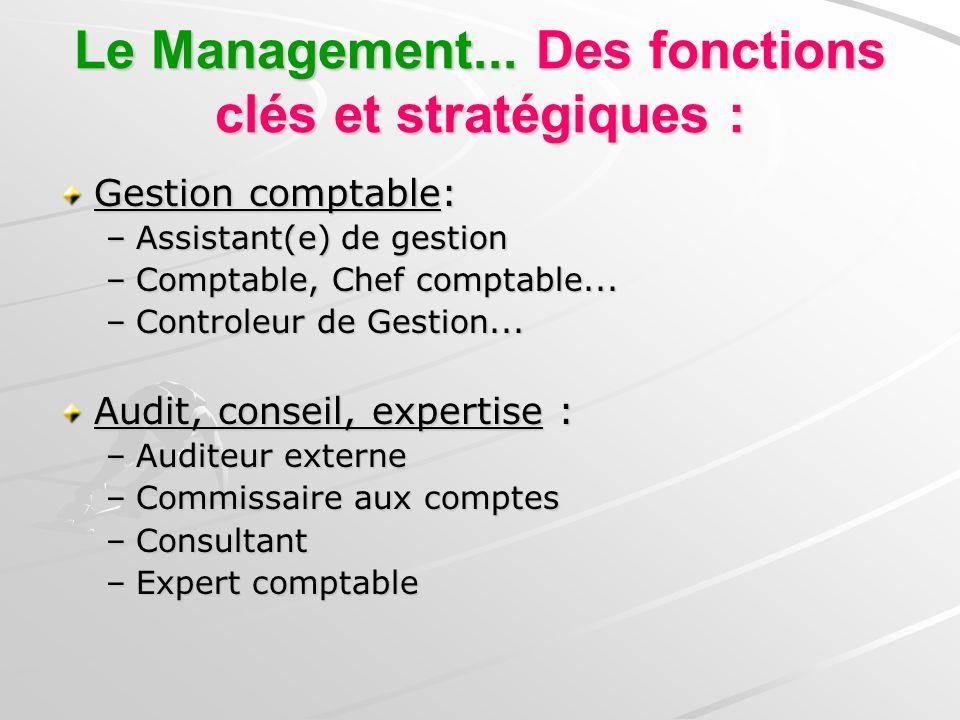 Le Management... Des fonctions clés et stratégiques : Gestion comptable: –Assistant(e) de gestion –Comptable, Chef comptable... –Controleur de Gestion