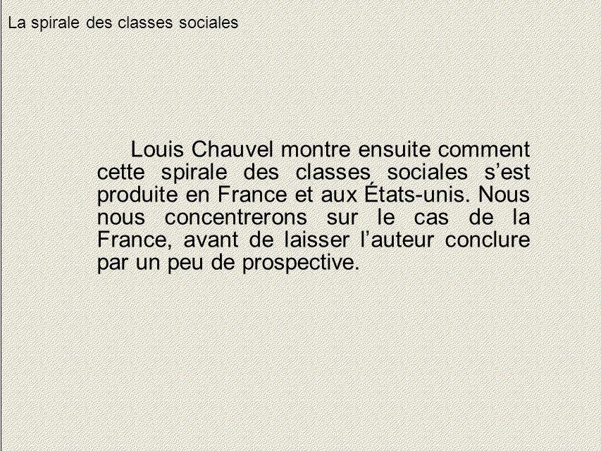 18 La spirale des classes sociales Louis Chauvel montre ensuite comment cette spirale des classes sociales sest produite en France et aux États-unis.