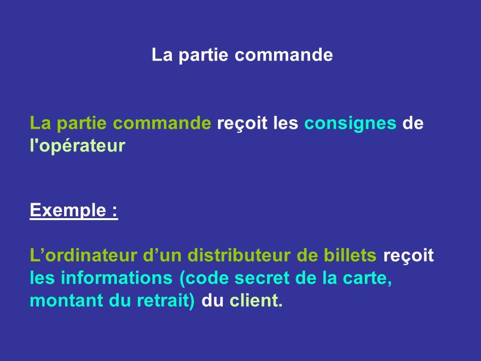 La partie commande La partie commande reçoit les consignes de l opérateur Exemple : Lordinateur dun distributeur de billets reçoit les informations (code secret de la carte, montant du retrait) du client.