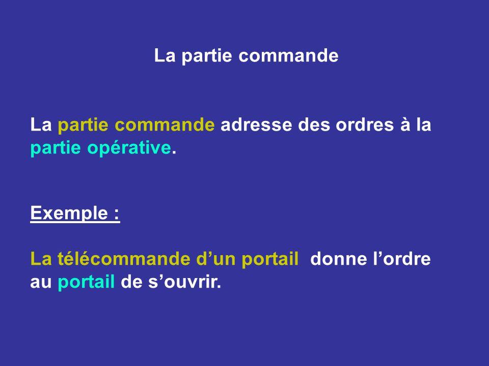 La partie commande La partie commande adresse des ordres à la partie opérative. Exemple : La télécommande dun portail donne lordre au portail de souvr