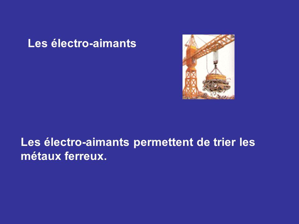Les électro-aimants Les électro-aimants permettent de trier les métaux ferreux.