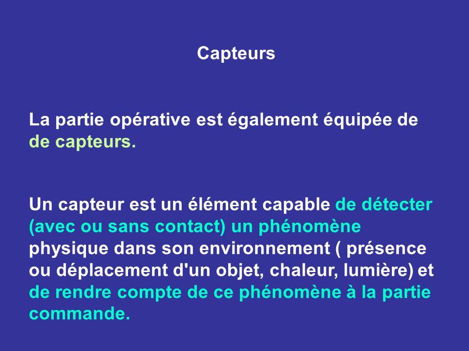 Capteurs La partie opérative est également équipée de de capteurs. Un capteur est un élément capable de détecter (avec ou sans contact) un phénomène p