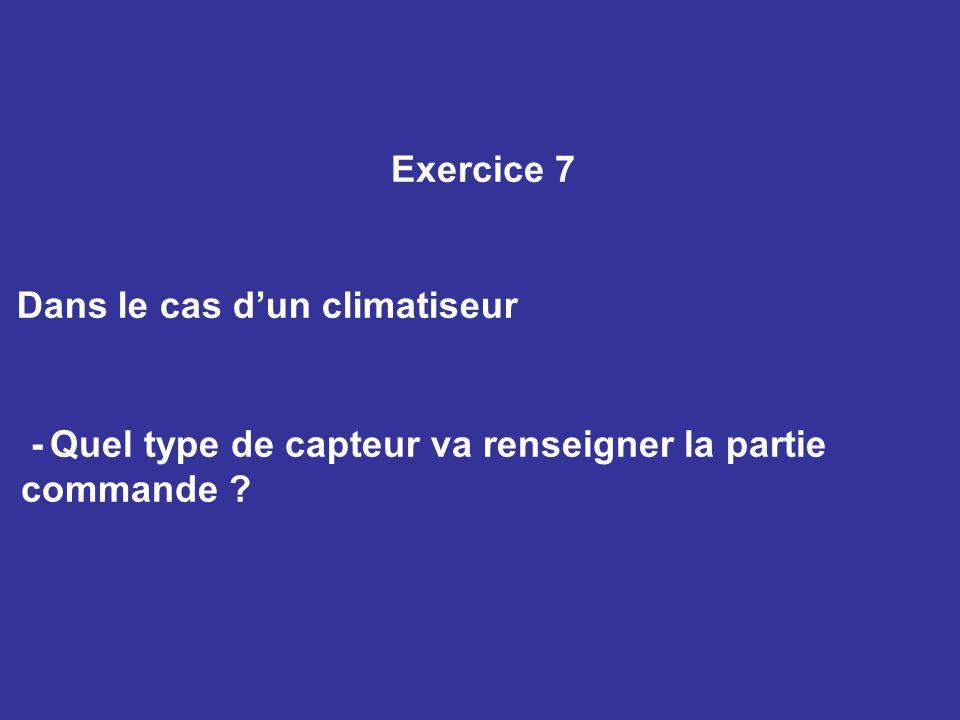 Exercice 7 Dans le cas dun climatiseur - Quel type de capteur va renseigner la partie commande ?