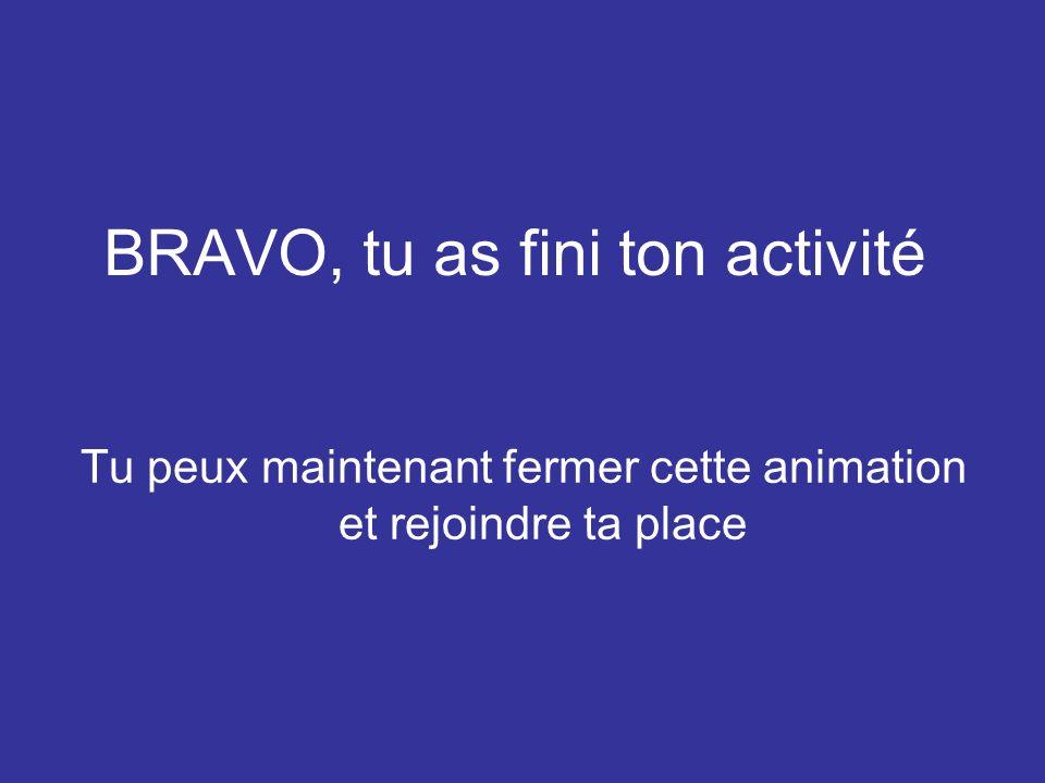 BRAVO, tu as fini ton activité Tu peux maintenant fermer cette animation et rejoindre ta place
