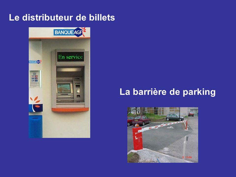 Le distributeur de billets La barrière de parking