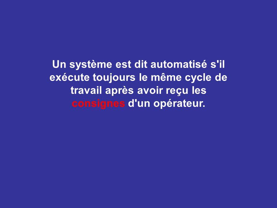 Un système est dit automatisé s il exécute toujours le même cycle de travail après avoir reçu les consignes d un opérateur.
