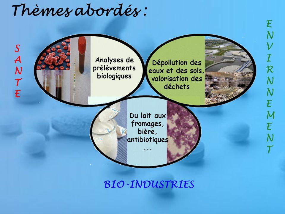 Thèmes abordés : SANTESANTE ENVIRNNEMENTENVIRNNEMENT BIO-INDUSTRIES Analyses de prélèvements biologiques Dépollution des eaux et des sols, valorisation des déchets Du lait aux fromages, bière, antibiotiques...